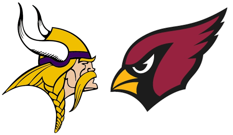 Vikings and Cardinals logos facing off