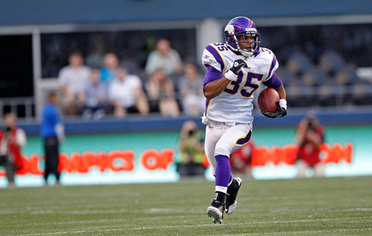 Photograph of Marcus Sherels Returning an Interception For Touchdown vs. Seahawks