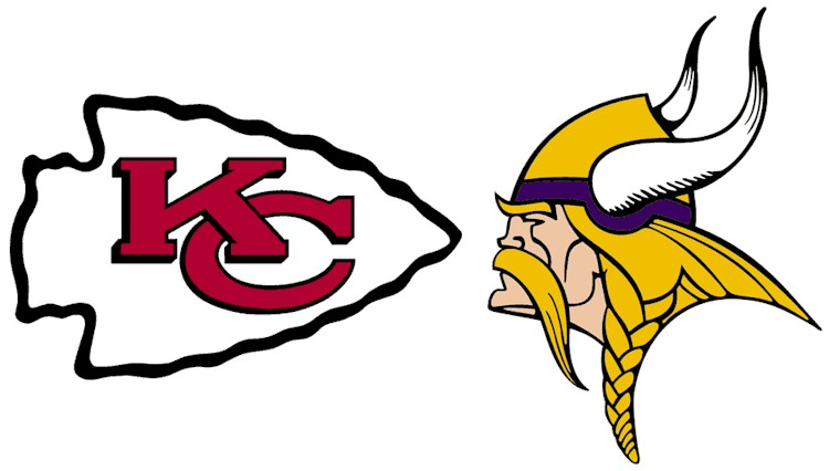Kansas City Chiefs & Minnesota Vikings logos facing off.