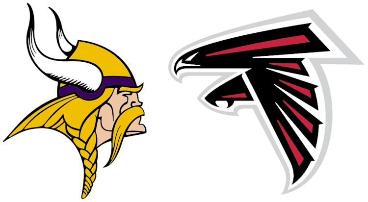 Vikings and Falcons logos facing off