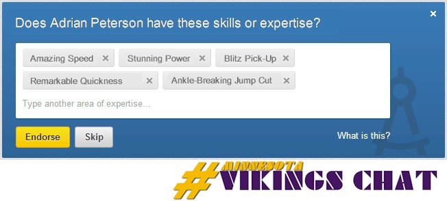 Graphic - Adrian Peterson's LinkedIn Endorsements