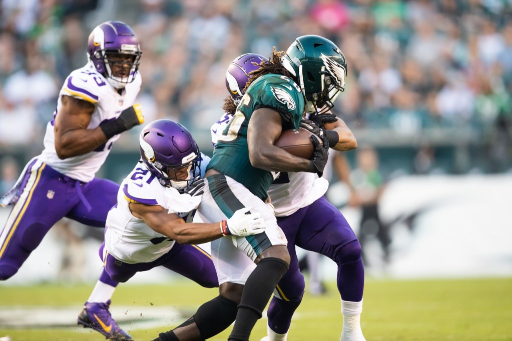 Photo: Danielle Hunter, Eric Kendricks & Mike Hughes vs Eagles.