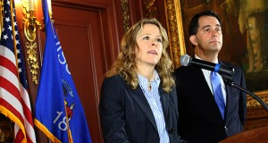 Wisconsin Gov. Scott Walker, right, appointed Judge Rebecca Bradley, left, to the Supreme Court in October, replacing the late Justice Patrick Crooks. Bradley now faces election challenges from JoAnne Kloppenburg and Joe Donald. AP file photo: Wisconsin State Journal