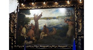 "In this March 2014 photo, a painting by Douglas Volk depicts ""Father Hennepin Discovers St. Anthony Falls"" in the Governor's Reception Room at the Capitol in St. Paul. A top concern among members of a Capitol artwork panel is the depiction of Native Americans and historical events in paintings deemed insensitive. AP file photo: Jim Mone"