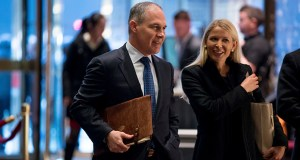 Oklahoma Attorney General Scott Pruitt arrives Wednesday at Trump Tower in New York. President-elect Donald Trump confirmed on Thursday that he will nominate Pruitt, a global warming skeptic, to lead the EPA. (AP Photo)