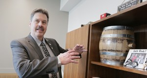 Sen. Paul Utke, R-Park Rapids, served seven years as a Park Rapids City Council member and has held a variety of leadership roles. Barrel manufacturer Black Swan Cooperage is located in Park Rapids, hence the oak barrel in his office. (Staff photo: Bill Klotz)