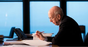 In this May 2014 photo, 7th U.S. Circuit Court of Appeals Judge Richard Posner edits his writing in his office at the Dirksen Federal Building in Chicago.  (File photo: Wisconsin Law Journal, Kevin Harnack)