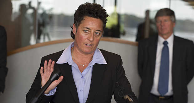 At a Sept. 28, 2015, briefing at the law offices of Fafinski Mark & Johnson in Eden Prairie, former University of Minnesota Duluth women's hockey coach Shannon Miller speaks about the discrimination lawsuit she and two other female coaches had filed against the school. (Richard Tsong-Taatarii/Star Tribune via AP)