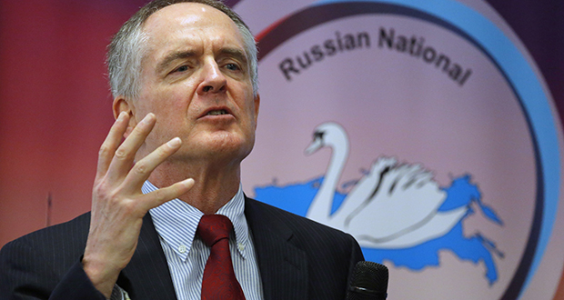 """Jared Taylor, author of the book """"White Identity,"""" speaks during the International Russian Conservative Forum on March 22, 2015, in St. Petersburg, Russia. Taylor is suing Twitter for banning his account amid the company's recent crackdown on content it deems abusive. (AP file photo)"""