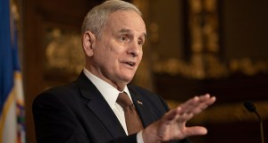 """Gov. Mark Dayton said April 26 that rolling so many division budgets into mega-omnibuses does not bode well. """"The larger the bill,"""" Dayton said, """"the more likely that there would be objectionable features in it. (File photo: Kevin Featherly)"""