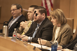 Sen. Mary Kiffmeyer, R-Big Lake (right), chairs the Senate State Government Finance and Policy and Elections Committee on Jan. 17. (Staff photo: Kevin Featherly)