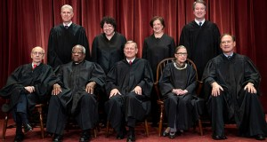 The justices of the U.S. Supreme Court gather for a formal group portrait. Seated from left: Justice Stephen Breyer, Justice Clarence Thomas, Chief Justice John G. Roberts, Justice Ruth Bader Ginsburg and Justice Samuel Alito Jr. Standing from left: Justice Neil Gorsuch, Justice Sonia Sotomayor, Justice Elena Kagan and Justice Brett M. Kavanaugh. (AP file photo)