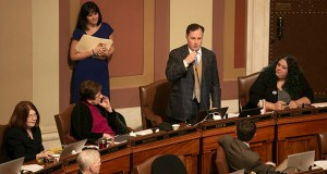Rep. John Lesch, DFL-St. Paul, introduces the judiciary components of the House public safety/judiciary omnibus bill on Monday. A Lesch measure that would allow couples to divorce without involving the adversarial court process touched off a heated debate centered on domestic abuse. (Staff photo: Kevin Featherly)