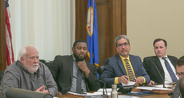 The House's public safety/judiciary finance chairs gathered for an information-only hearing Wednesday. They include the Corrections Subcommittee's Jack Considine, DFL-Mankato (left) Public Safety's Carlos Mariani, DFL-St. Paul (second from right) and Judiciary's John Lesch, DFL-St. Paul (right). Committee administrator Jamael Lundy sits been Considine and Mariani. (Staff photo: Kevin Featherly)