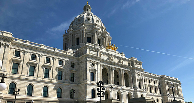 The sun shines on the Minnesota State Capitol in St. Paul on May 15. (AP photo)