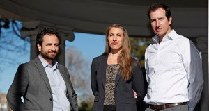 Attorneys, from left, David Seligman, Nina DiSalvo and Alexander Hood, of Towards Justice, pose Dec. 18, 2018, outside the organization's office east of downtown Denver. (AP photo)