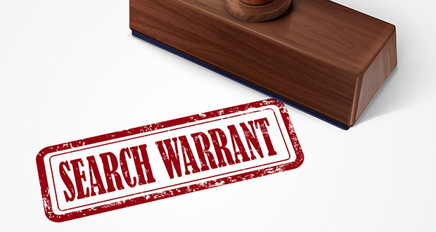 stamp search warrant in red