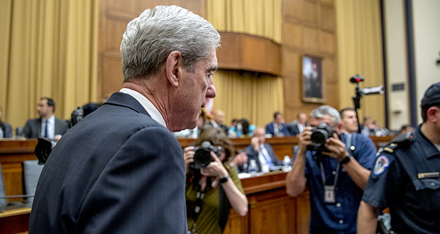 Former Special Counsel Robert Mueller returns from a short break July 24 while testifying before the House Intelligence Committee hearing on his report on Russian election interference. (AP photo)