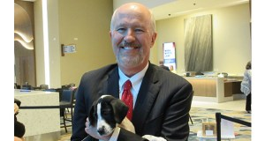 """The MSBA Convention was capped by the appearance of a pack of """"therapy puppies,"""" part of the convention's focus on lawyer wellness. In this photo, Judge Edward Cleary finds a canine friend. (Staff photo: Barbara Jones)"""