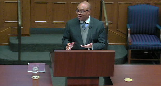 This photo, taken from streamed video, shows attorney Bobby Gordon Okechuku Onyemeh Sea making his case before the Minnesota Supreme Court.