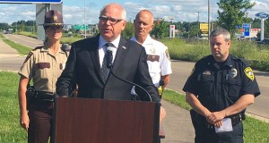 Gov. Tim Walz conducts a press briefing on new road safety laws last week in Rochester. (Photo: Office of the Governor)