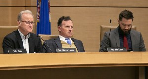 Sen. Warren Limmer, R-Maple Grove, and Rep. John Lesch, DFL-St. Paul, the chair and vice-chair of the Legislative Commission on Data Practices, take testimony during a Sept. 5 hearing. Seated at right is House research analyst Nathan Hopkins. (Staff photo: Kevin Featherly)