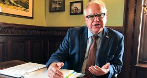 Gov. Tim Walz discusses his plans for the 2020 legislative session and other issues in an interview with The Associated Press on Tuesday in his office at the state Capitol in St. Paul. (AP photo: Steve Karnowski)