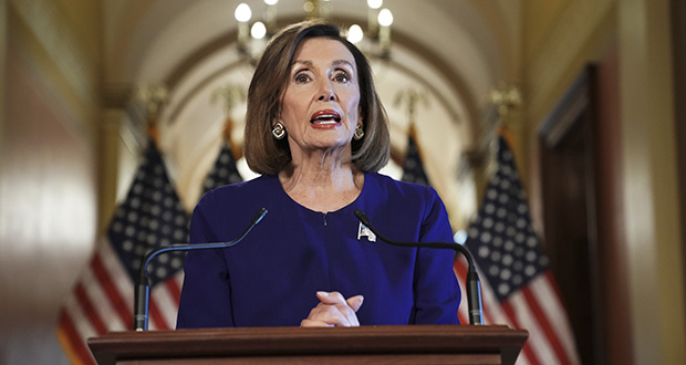 House Speaker Nancy Pelosi reads a statement announcing a formal impeachment inquiry into President Donald Trump on Tuesday in Washington. (AP photo)