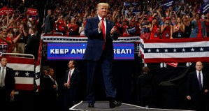 In this June 18 photo, President Donald Trump arrives to speak at his re-election kickoff rally at the Amway Center, in Orlando, Florida. Trump is scheduled to appear in Minneapolis on Thursday.