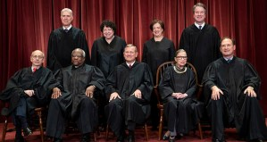The justices of the U.S. Supreme Court gather for a formal group portrait in 2018. Seated from left: Justice Stephen Breyer, Justice Clarence Thomas, Chief Justice John G. Roberts, Justice Ruth Bader Ginsburg and Justice Samuel Alito Jr. Standing behind from left: Justice Neil Gorsuch, Justice Sonia Sotomayor, Justice Elena Kagan and Justice Brett M. Kavanaugh. (AP photo)
