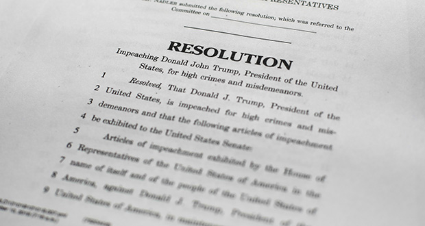 A copy of the articles of impeachment in Washington. House Democrats announced they are pushing ahead with two articles of impeachment against President Donald Trump. (AP photo)