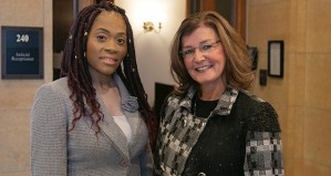 Attorney Karlowba Adams Powell, left, poses with her client Michelle MacDonald shortly after oral arguments in front of the Court of Appeals. (File photo: Kevin Featherly)