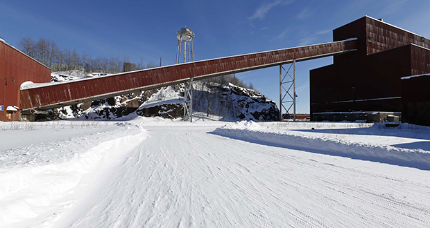 This 2016 file photo shows a former iron ore processing plant near Hoyt Lakes, Minnesota, that would become part of a proposed PolyMet copper-nickel mine. (AP file photo: Jim Mone)