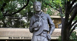 A statue stands outside the Boys Scouts of America headquarters in Irving, Texas. The Boy Scouts of America has filed for bankruptcy protection as it faces a barrage of new sex-abuse lawsuits. (AP photo)