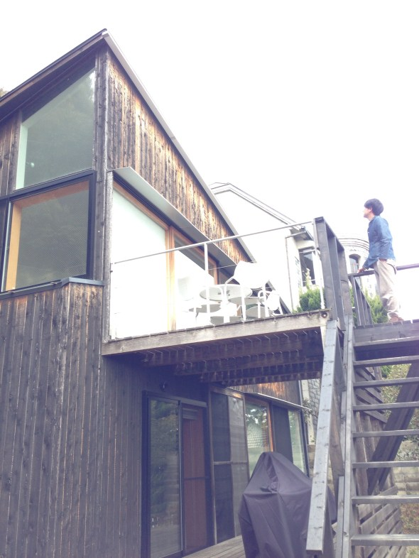 Shimada san on the deck of House in Kitano