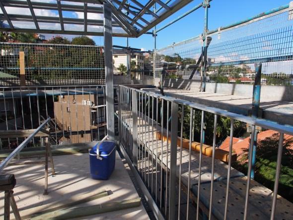 The upper deck balustrade.