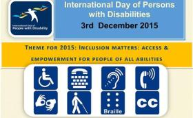 3rd December  Int day of disabilities 2015