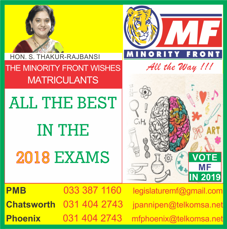 The Minority Front Wishes 2018 Matriculants