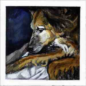 painting of a brown and white dog