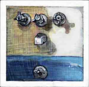 painting of a blue bathtub and faucets