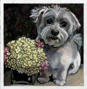 painting of a small white dog with pink bows sitting next to yellow and pink flowers