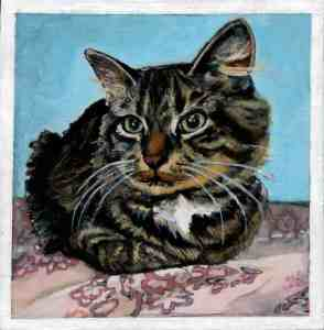 painting of a brown tabby siberian cat sitting on a pink floral blanket in front of a turquoise wall