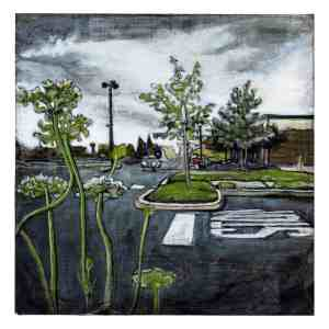 painting of a parking lot in South Philadelphia