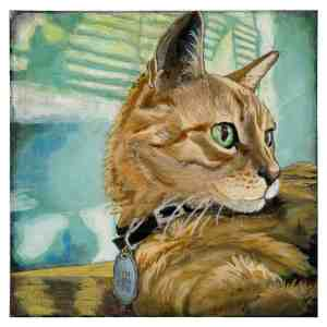 painting of an orange tabby cat sitting in the sunlight