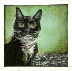 painting of a tuxedo cat sitting in front of a green wall