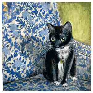 painting of a tuxedo cat sitting on a floral pattern chair