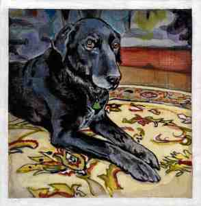 painting of a black dog on a yellow patterned rug