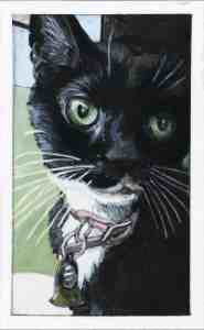 painting of a tuxedo cat wear a pink collar