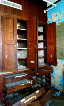 A medical supply cabinets in the girls' dormatory.