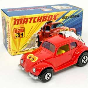 "Matchbox Superfast No.31B Volksdragon - red body with yellow interior, ""eyes"" label, purple glass - Mint including type I box."